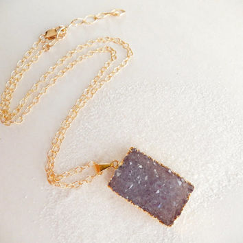 Purple Druzy Necklace 14K Gold Rectangular Quartz Crystal Pendant- Free Shipping OOAK Jewelry