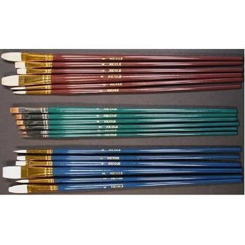 18 Fine Art Paint Brushes for Acrylic, Oil, Watercolors -Long Handles