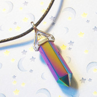 Magical Titanium Rainbow Crystal Quartz Necklace