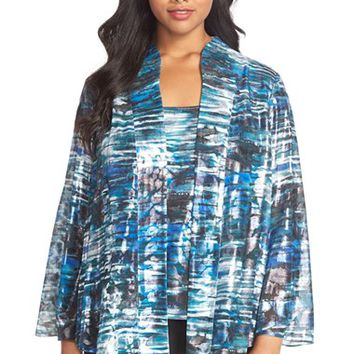 Plus Size Women's Alex Evenings Print Chiffon Twinset ,