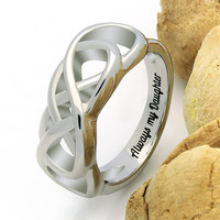 "Double Infinity Daughter Ring, Promise Ring ""Always My Daughter"" Engraved on Inside Best Gift for Mother Daughter Forever"