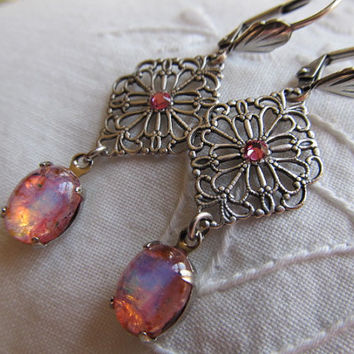 Opal Earrings Fire Opal Earrings Art Deco Earrings Sterling Earrings Filigree Earrings Art Nouveau Earrings Pink Earrings- Mystery