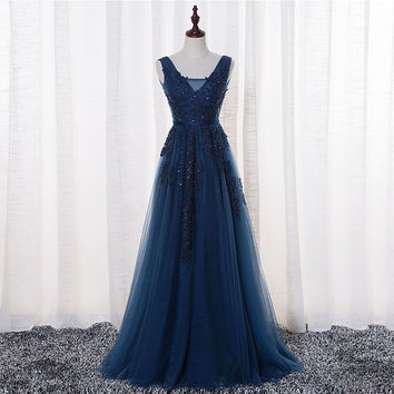 A-Line Sleeveless Beaded Navy Blue Prom Dresses Evening Dresses