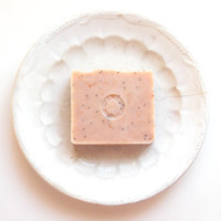 Pink Peppermint Poppy Seed Soap // Cold Process Handcrafted in Maine // Pink Grapefruit White Pink