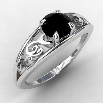 Blac diamond ring, engagement ring, white gold, filigree engagement, black wedding ring, gothic, vintage style, black diamond engagement