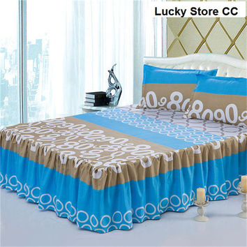 bedskrit elastic fitted sheet sunny mood bed cover pillowcase mattress cover bedclothes bedspreads cushion cover 3pcs/set blue
