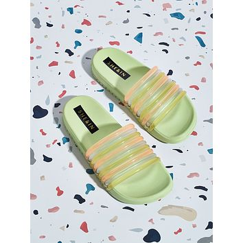 Open Toe Color-block Wide Fit Sliders