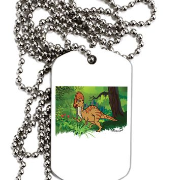 Parasaurolophus Walkeri - Without Name Adult Dog Tag Chain Necklace by TooLoud