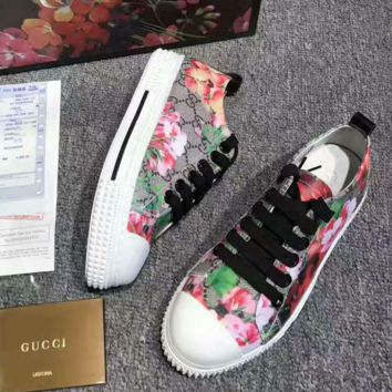"""""""GUCCI"""" Fashion Flats Sneakers Sport Shoes Print Red flower splicing GG"""