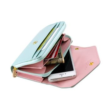 Gearonic AV-5376-MGreen-iph5 Multifunctional Wallet Purse Case for iPhone 5/4S/Samsung Galaxy S4 SIV/S3/HTC M7/iPod - Non-Retail Packaging - Mint Green