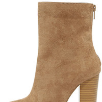 Life's Luxuries Taupe Suede Mid-Calf High Heel Boots
