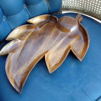 Monkey Pod Bowl Leaf Serving Bowl Large Wooden Serving Dish, Wooden Serving Dish, Large Leaf Bowl