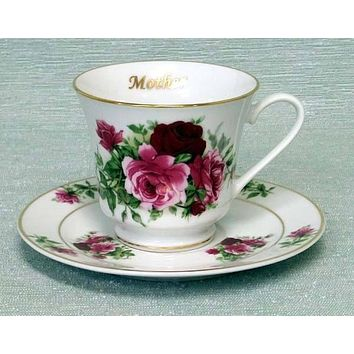 Mother Personalized Porcelain Tea Cup (teacup) and Saucer