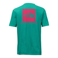 Men's Short Sleeve Red Box Tee in Specter Green & Raspberry by The North Face