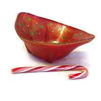 Holiday Bowl Christmas candy dish home decor glass and decoupaged dish red with metallic green and gold stars