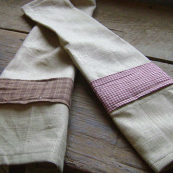 Two Dish Towels or Tea Towels Primitive Country Rustic Cotton and Gingham plaid
