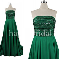 Long Green Shinning Crystal Prom Dresses Strapless Bridesmaid Dresses Long A line Chiffon Party Dresses 2014 Wedding Occasions