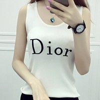 DIOR spring and summer new fashion letter embroidery slim knit small camisole F0774-1 White
