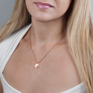 Rose Gold Necklace; Layering Necklace; Rose Gold Coin Necklace; Disc Pendant Necklace; Pebble Necklace; Rose Gold Charm Necklace