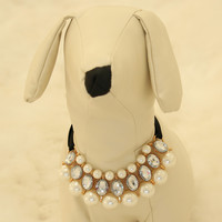 Pearl and Rhinestone Dog jewelry- Pet accessories, Pearl Necklace, Dog beaded Necklace