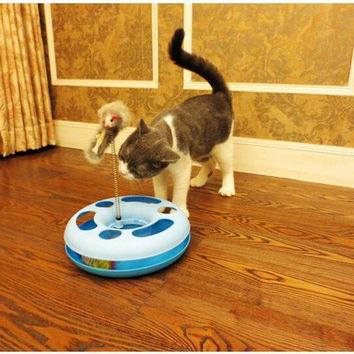 Creative Funny Cat Toys Mice Crazy Training Amusement Disk Multifunctional Disk Play Rotating Plate Pet Products = 1929962948