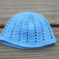 Crochet Infants Beanie Hat, Infant (0-3 months) , Crochet Blue Baby Boy Hat, Infants Crochet Hat, Crochet Beanie, Crochet