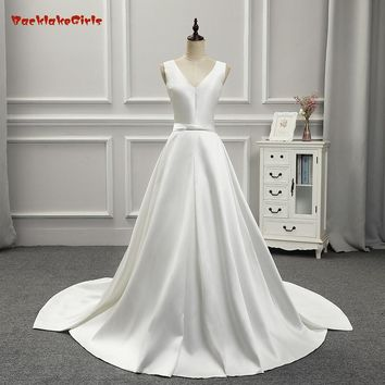 100% Real Photo High Quality BakeLakeGirls Simple Bridal Gown Custom Made Satin Sleeveless with Bow Lace Up Back Wedding Dress