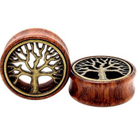 TOPBRIGHT® Pair Wood & Brass Tree of Life Flesh Tunnels Expander Ear Gauges Earring Plugs (10mm)