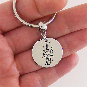 Dream big keychain, unicorn key chain, unicorn party favors, unicorn birthday party, dream big quote, stamped keyring, unicorn gifts, gift