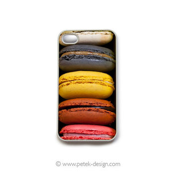 French Patisserie Macaroons iPhone 4 Case. Sweet Gadget Accessory for iPhone 4 4s. Chef Gift, Bakery Shop Cookies, black yellow white pink