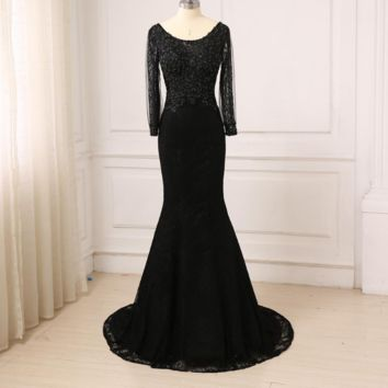 Black Mermaid Evening Dresses Long Sleeves Lace Arabic Evening Prom Dress Backless Designer