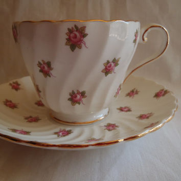 Ainsley Tea Cup and Saucer Bone China Porcelain , Vintage Tea Set By Ainsley