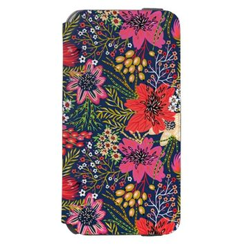 Vintage Bright Floral Pattern iPhone 6/6s Wallet Case