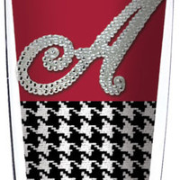 Signature Tumbler Alabama Bling Letter A/Crimson & Houndstooth wrap/ Lid & Straw