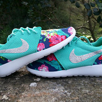 custom womens nike roshe run floral athletic shoes aqua color customized with fabric floral blinged with swarovski crystals