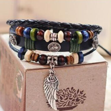 Fashion Infinity Leather Charm Bracelet Silver lots Beads Style Jewelry +Gift Box