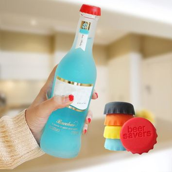 6pcs/lot New Kitchen multicolor Silicone Button Beer Wine Cork Stopper Plug Bottle Cap Cover Perfect Home Kitchen Tools