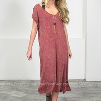 Vintage Wash Brick Maxi Dress