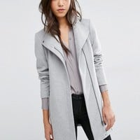 Vero Moda Belted Funnel Neck Wool Coat