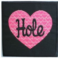 "HOLE Heart Grunge Rock Band Logo Shirt jacket Patch Sew Iron on Embroidered Sign Badge Approx: 2.9""/7.4cm x Approx: 2.9""/7.4cm By MNC Shop"