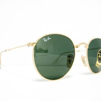 new RAY BAN Folding Sunglasses RB3532 001 Gold / Crystal Green G-15 50mm