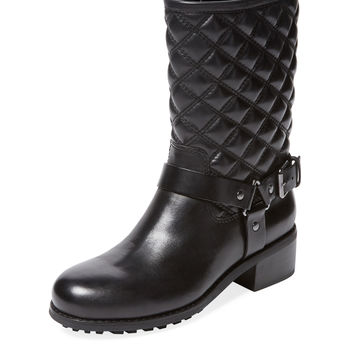 Renvy Women's Meryn Quilted Motorcycle Boot - Black -