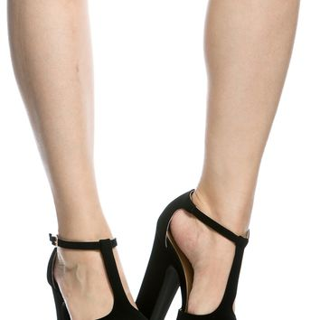 Black Faux Suede Chunky Peep Toe T Strap Heels @ Cicihot Heel Shoes online store sales:Stiletto Heel Shoes,High Heel Pumps,Womens High Heel Shoes,Prom Shoes,Summer Shoes,Spring Shoes,Spool Heel,Womens Dress Shoes