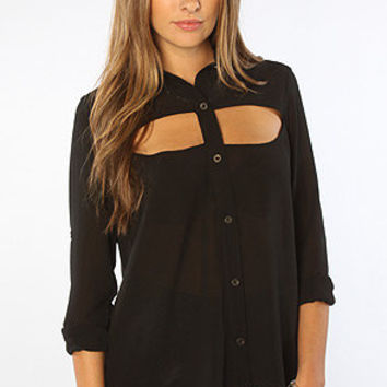 The Be My Guest Cut Out Shirt in Black