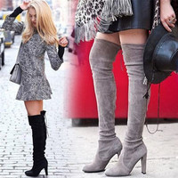 Women Stretch Faux Suede Slim Thigh High Boots Sexy Fashion Over The Knee Boots High Heels Woman Shoes Cuissarde Bottes Hautes