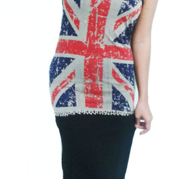Sexy Summer Black Dresses women UK Flag Union Jack XS S