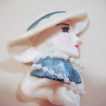 Vintage Ceramic Woman's Face Brooch Lady with Hat and Pearls