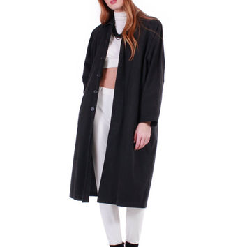 90s Vintage Black Denim Duster Jacket Raglan Batwing Sleeves Slouchy Long Oversized Minimalist Goth Cotton Winter Coat Women Size Large XL