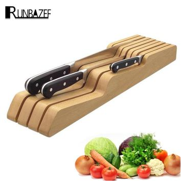 Runbazef Wooden Knives Storage Drawers Kitchen Utensils Creative Space Parts Tool Post Magnetic  Holder