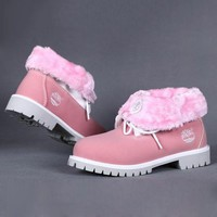 Timberland Rhubarb boots for Women Fashion Thick Lace-Up Waterproof Leather Boots Shoes Pink G